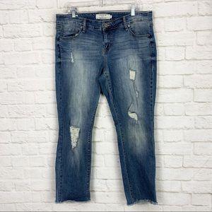 Torrid Distressed Raw Hem Boyfriend Crop Jeans 16